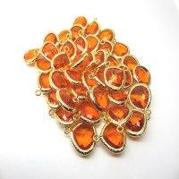 ガラス金属フレームビーズパーツ ヒヤシンスオレンジ 1個 17mm